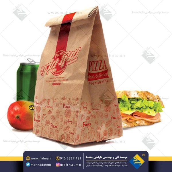 طراحی پاکت غذا و فست فود پیتزا پنجره