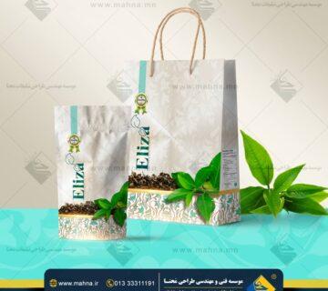 طراحی ساک خرید و بسته بندی چای الیزا